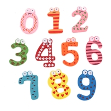New Cute Wooden Fridge Magnet Number 0-9 Kids Educational Toy MultiColor
