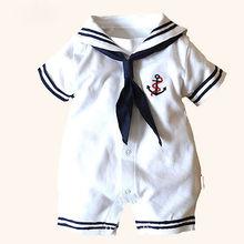 2015 Hot Newborn Boy Clothes Baby Romper Sailor Costume infant Babygrows 4 18M
