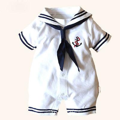 2015 Hot Newborn Boy Clothes Baby Romper Sailor Costume infant Babygrows 4-18M