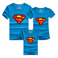 PSEEWE 2016 Family Matching Clothes Parent Kid Look Superman T Shirts Summer Father Mother Kids Cartoon