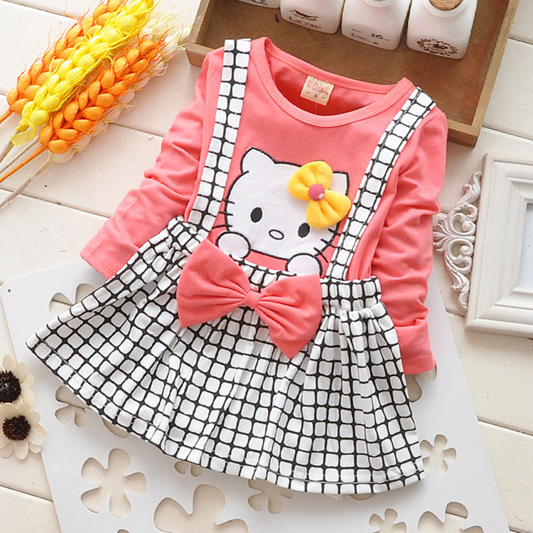 80d39f819 Children's Cartoon Hello Kitty Baby Girls Dress Plaid Dress Casual Fashion  Clothing Baby Girls Clothes | Baby Suits Market