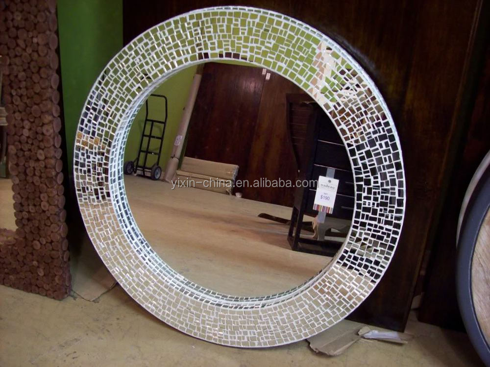 Luxury Tempered Mosaic Silver Glass Tile Frame Mirror For