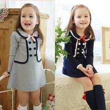 2016 European and American Preppy Style Girls font b Dress b font Summer Baby Kids Girls