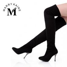 2015 Big Size Women's Spring/Autumn Folding Over the Knee Boots Sexy Thin High Heel  Boots Fashion Pointed toe Boots Women Shoes