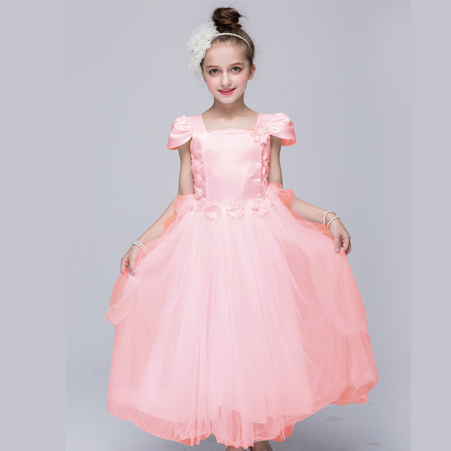 Pink White Flower Girl Dress European Wedding Dresses For Kids 4 5 6 7 8 9 10 12 Years Old Infant Birthday Tutu Girls Zq44