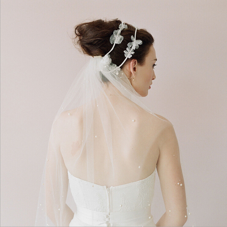 Wedding Hairstyles With Headband And Veil: Hot Sale New Wedding Bridal Pearl Beaded Veil Bridal