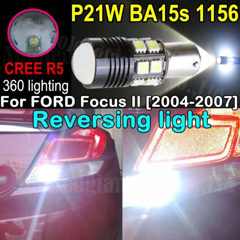 2 шт. белый P21W BA15s 1156 из светодиодов высокой мощности кри R5 SMD из светодиодов резервное копирование обратный свет для форд фокус 2 2004 2005 2006 2007