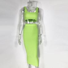 Комплект летней одежды из двух предметов: укороченный топ и юбка Женский комплект 2 шт., комплект из двух предметов, сексуальный комплект оде...(Китай)