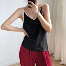 Женский топ без рукавов GareMay, черный или белый топ из шелка и шифона с треугольным вырезом на лето 2020(Китай)