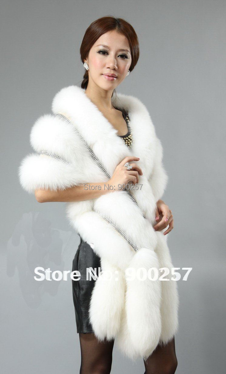 New Arrival Real Fox Fur Shawl Poncho Cape Stole Dress