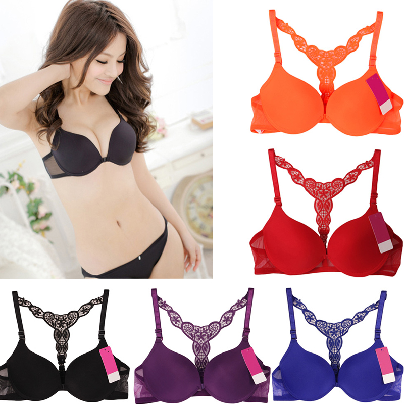 2a38bc28a3 Detail Feedback Questions about ANSELF Sexy Women Bra Front Closure Lace  Bralette Racerback Paddad Push Up Bra Seamless Underwear Ultra Boost Sutian  ...