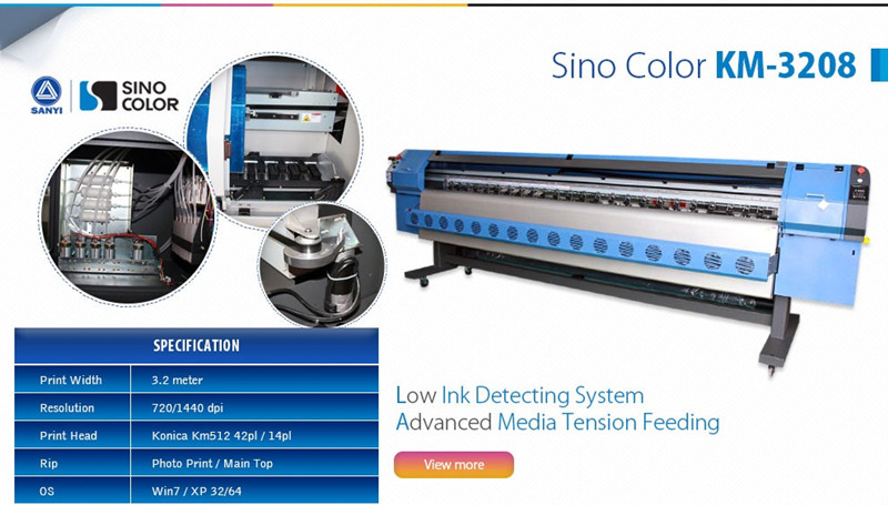 3 2m Digital Flex Printing Machine Sinocolor KM3208, with Konica