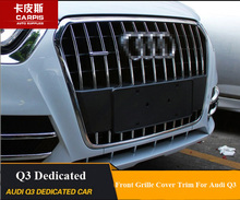 ABS Chrome Car Front Grille Cover Trims Car Front Grille Racing Cover Decoration Trims For Audi Q3 2013 2014 2015 Car styling