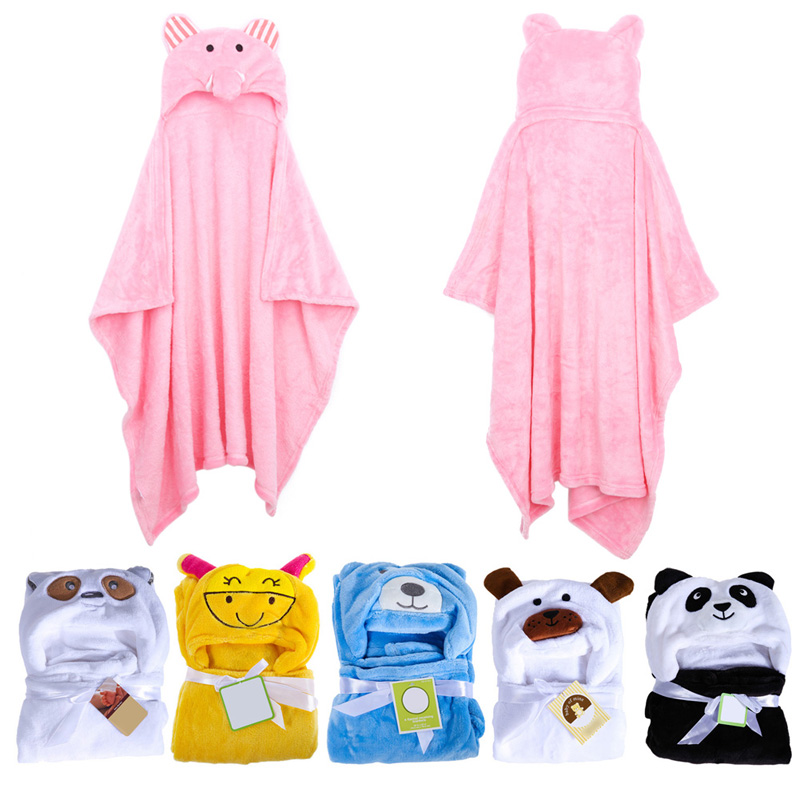 Hot Selling  Cute Animal Flannel Cartoon Baby Kid s Hooded Bath Towel Toddler Blankets LD789