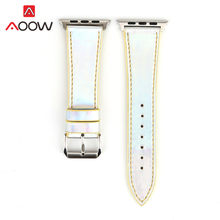 Модный цветной кожаный ремешок для часов Apple Watch iwatch 4 40 мм 44 мм 38 мм 42 мм лазерный сменный браслет для мужчин и женщин(China)