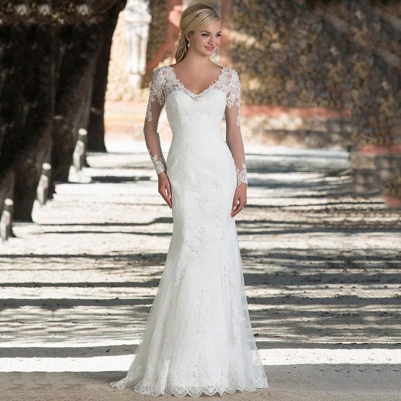 Vintage Long Sleeve Lace Wedding Dresses Plus Size Mermaid