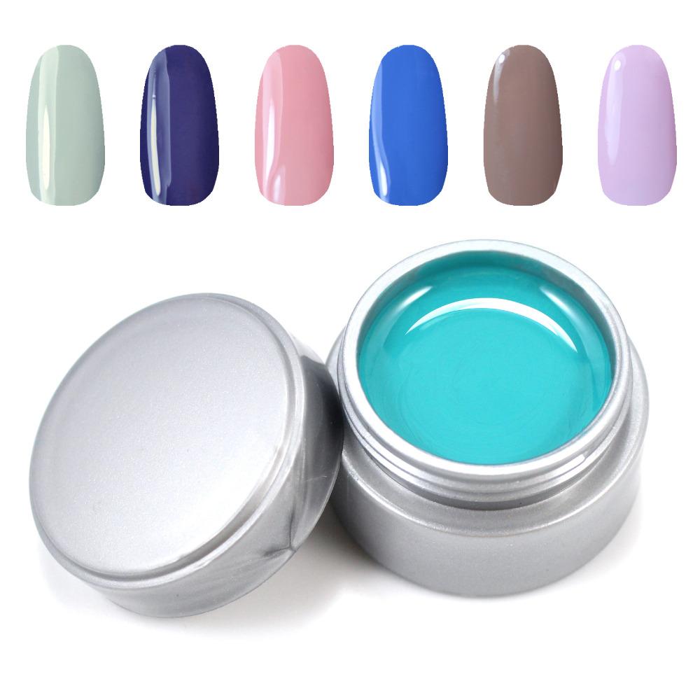 y s uv gel set mix gray pink blue etc 6 pure color nail art uv gel solid extension manicure set. Black Bedroom Furniture Sets. Home Design Ideas