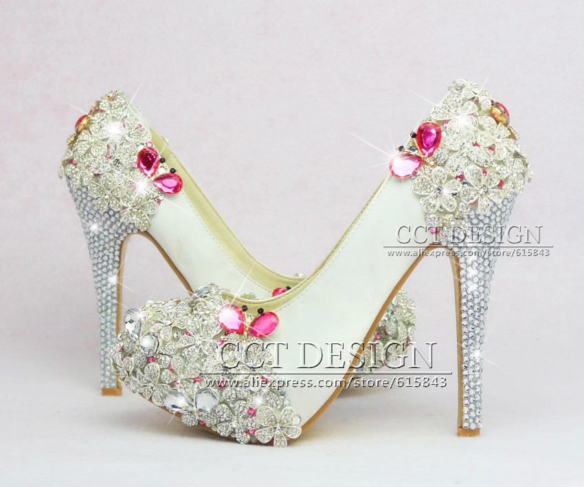 Luxury Silver Rhinestone Butterfly White Satin Wedding