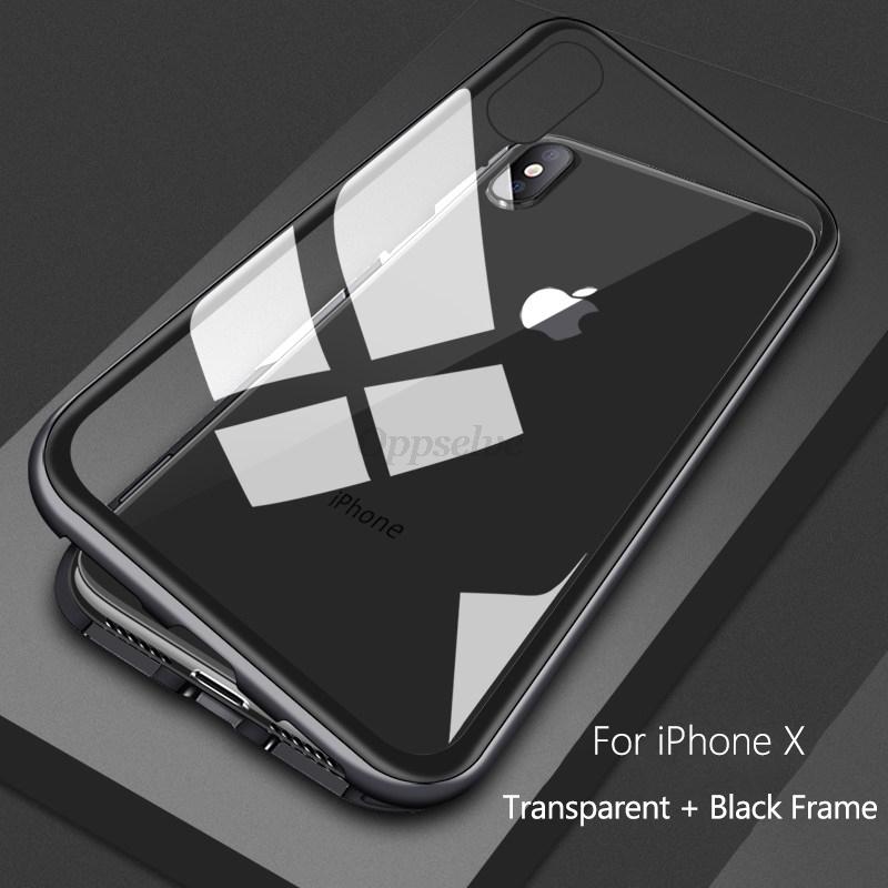 Магнитный адсорбционный чехол для iPhone X Xs Max Xr 8 7 Plus 11 Pro Max, ультра металлический магнит, Задняя стеклянная крышка, флип-кейс(Китай)