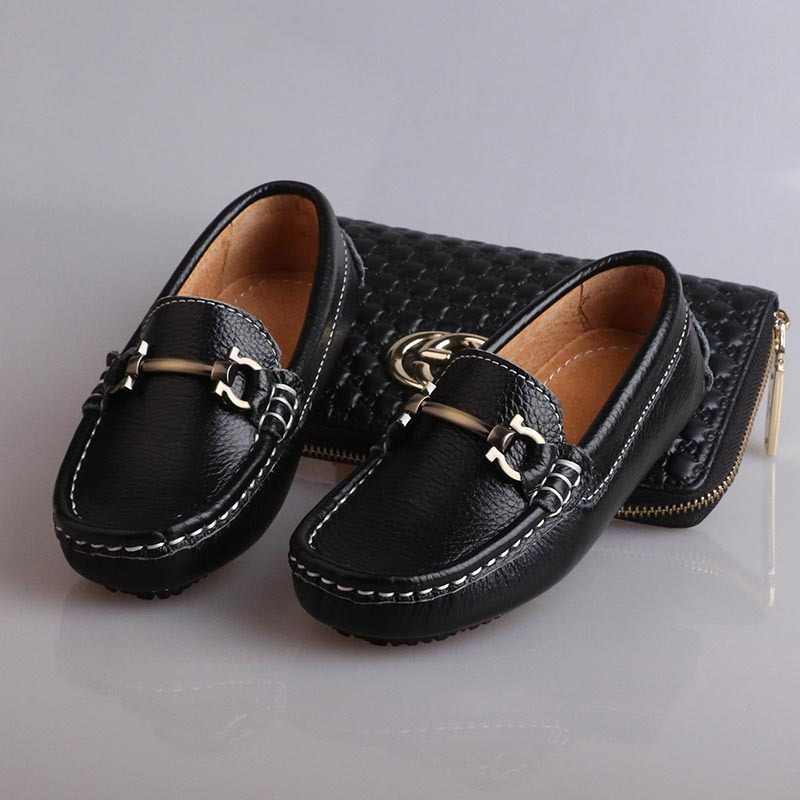 Size 26 35 2016 Autumn Boys Genuine Leather Loafers Children Flat Slip On Casual Black Formal