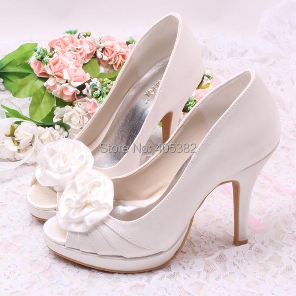 Bridal Shoes For Cheap: Discount Wide Bridal Shoes Royal Blue Flower Platform