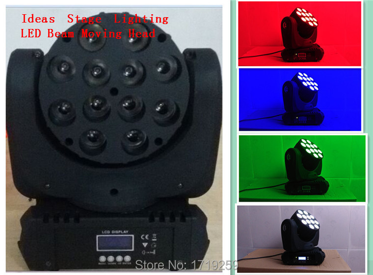 LED Beam Moving Head Light 12pcsx 12W RGBW Quad LEDs With Excellent Pragrams 11/15 Channels