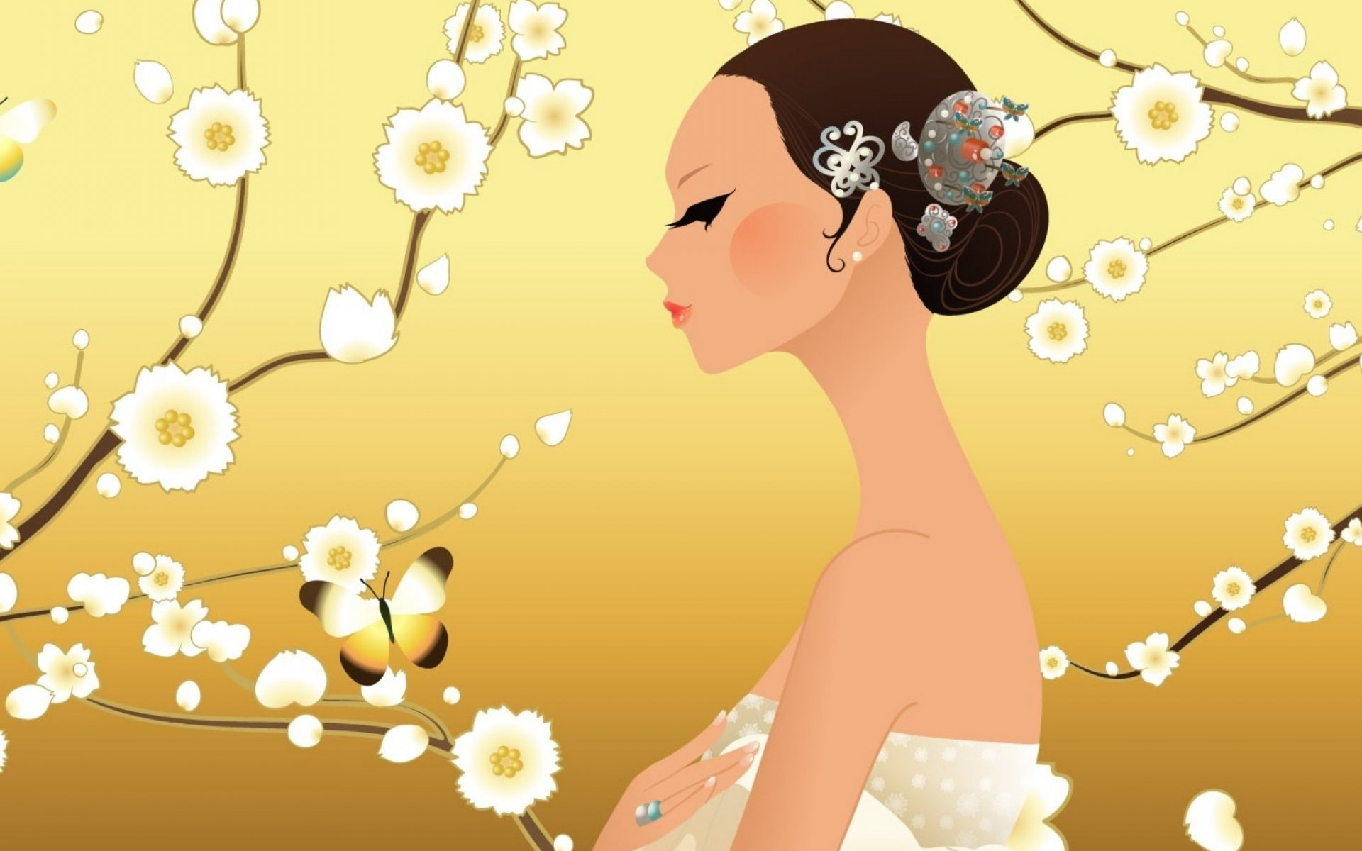 Living room <font><b>home</b></font> wall <font><b>decoration</b></font> fabric posterartistic artwork women female girls girl woman <font><b>asian</b></font> oriental korean under tree