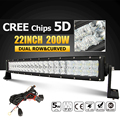 Oslamp 22 200W CREE Chips 5D LED Light Bar Curved Combo Led Work Light Bar Offroad