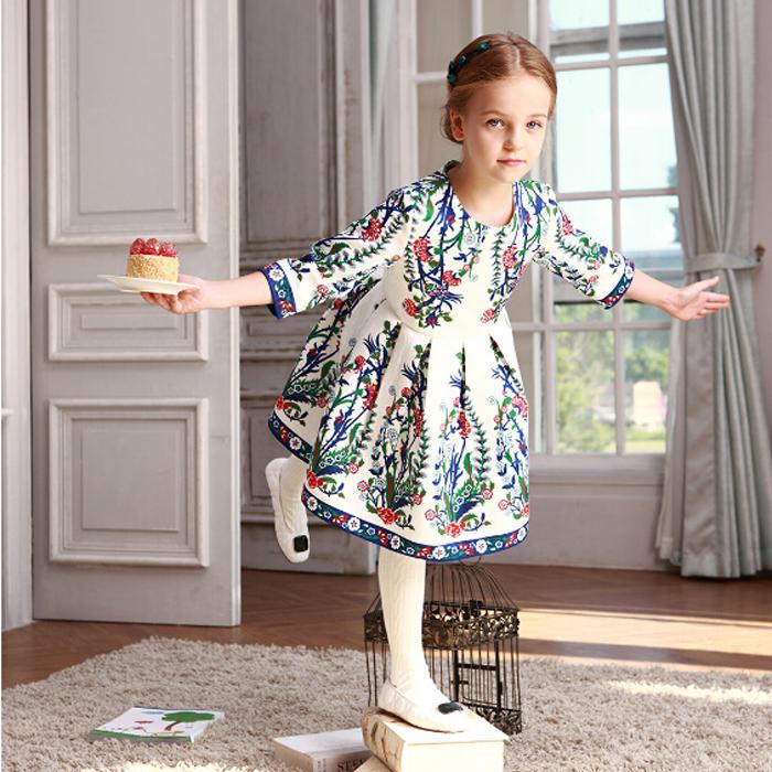 WL MONSOON Girls Party Dress Children Vestidos Brand Kids Costume Princess Girls Dresses Floral Pattern Kids