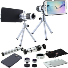 4 in 1 Awesome Camera Lens Set:12x Optical Tripod Camera Lens&Fisheye&Macro&Wide-angle+Cover Case For Samsung Galaxy S6 Edge/S6