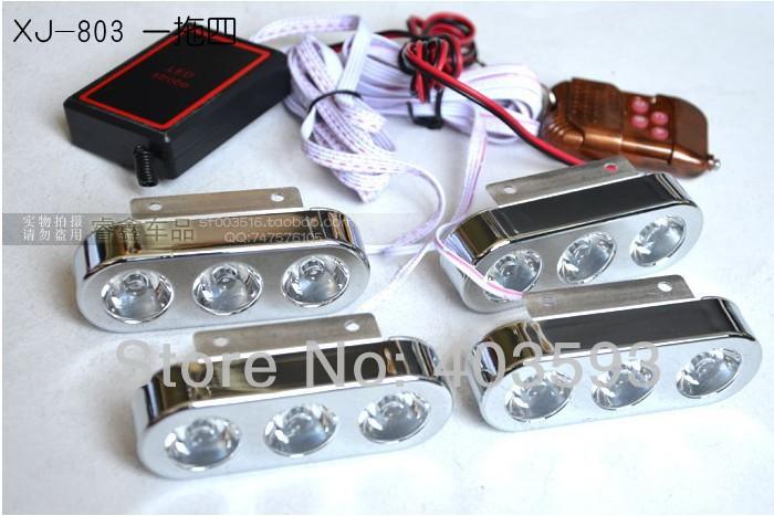 Строб дневного света беспроводной пульт дистанционного управления автомобиля стробоскоп яркие 3LED * 4 12led net фары