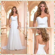 Vestido De Noiva Hot Sale Stock US Size 2-4-6-8-10-12-14-16-18-20-22 White/Ivory Chiffon Pleat Crystal Wedding Dress Bridal Gown