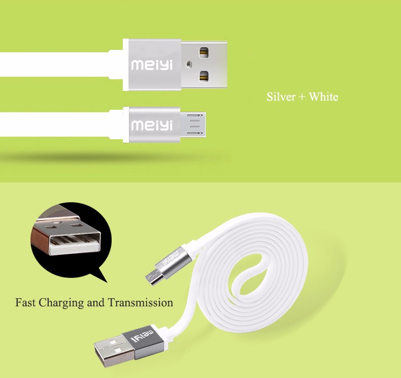 Meiyi Metal Connector Noodle Micro Usb Cable Data Sync Charger Cable 2.1a High Speed Android Usb Cable For Samsung Xiaomi Huawei Mobile Phone Accessories
