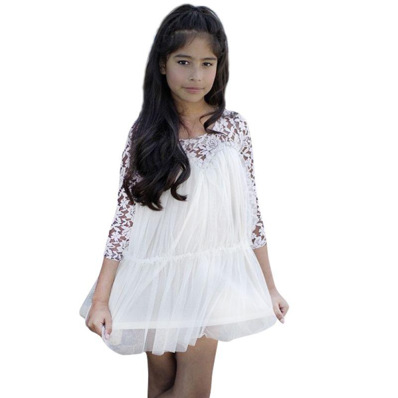Kids Princess Girl Lace font b Fancy b font font b Dresses b font Long Sleeve