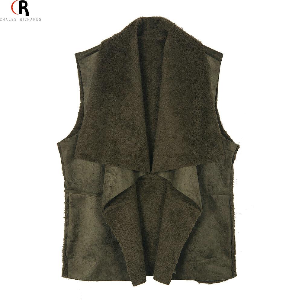 CHOIES Faux Suede Leather Fleeced Fall Waistcoat 2016 Women Loose Casual Drape Open Front Waterfall Vest