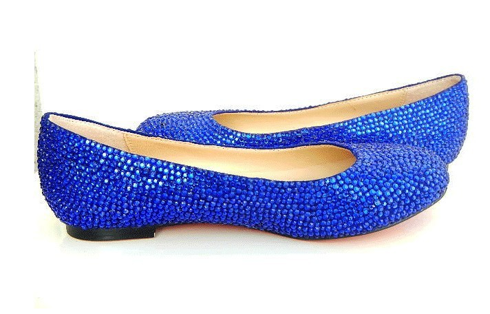 Blue Sequin Shoes Flats