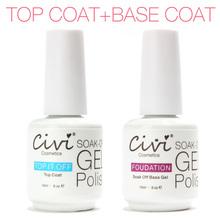 15ml 2pcs Lot Top Coat Base Coat Kit Civi Gel Nail Polish Gorgeous Colors UV Gel