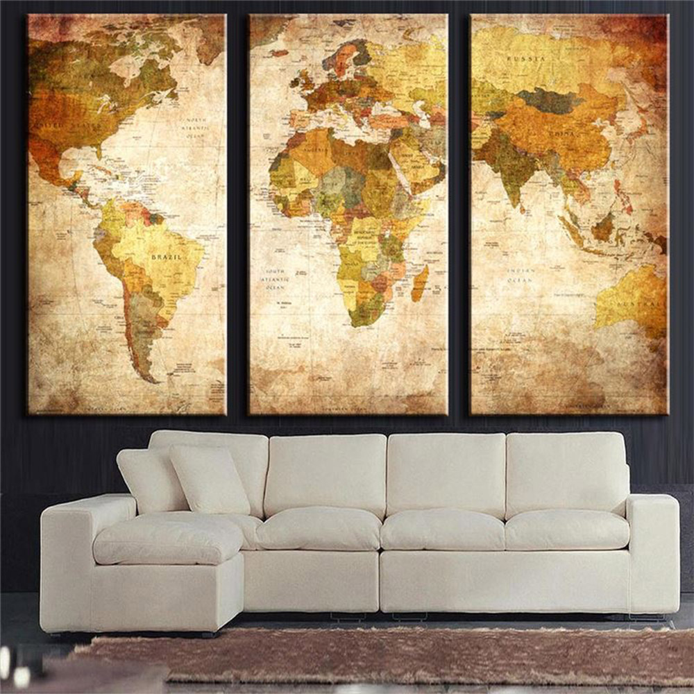 Aliexpress Com Buy Unframed 3 Panel Vintage World Map