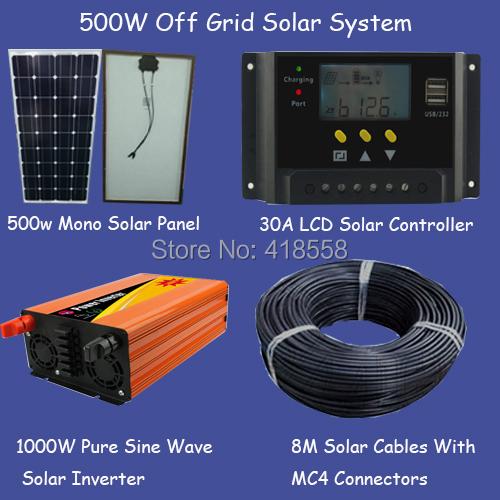 free shipping 500w off grid solar system/whole house solar ...