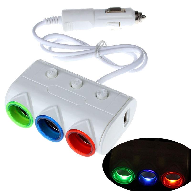 Scolour 2 USB 3 разъём(ов) автомобиль легче разветвитель зарядное устройство адаптер питания