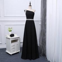 JaneVini/черные шифоновые длинные платья подружки невесты трапециевидной формы на одно плечо, расшитые бисером, с открытой спиной, длиной до по...(Китай)