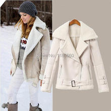 New Hot 2014 font b Winter b font Fashion Leather Jacket Women Coat Vogue Big Lapel