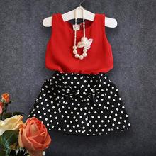 2016 Baby Girl Clothing Sets Fashion Summer Toddler Kids Clothes Vest Dot Print Skirt Children Suit