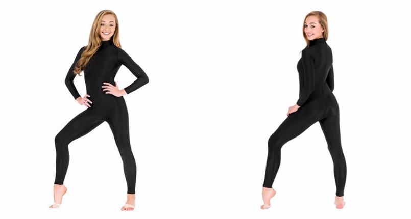 a4c449e2de0 2019 Wholesale Black Long Sleeve Unitard Women Spandex Lycra Ballet ...