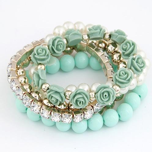 2014 модный мода цвета конфеты перл розы многослойные браслет и браслет для женщин мода ювелирных изделий! B087