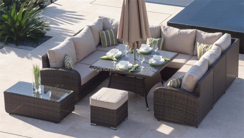 8 Seater U Shape Home Outdoor Dining And Chatting Sofa Set