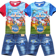 New 2015 Summer POLI ROBOCAR Children Boys Clothing Sets Baby Kids Suits Shirt Jeans Shorts Pants 100% Cotton Clothes Set