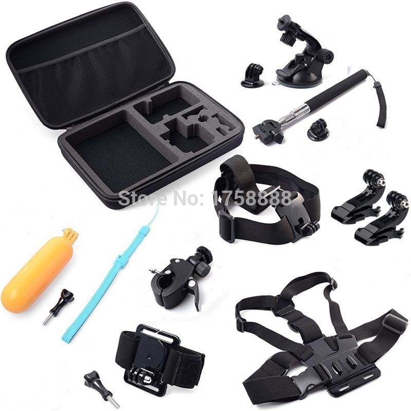 Gopro Hero Accessories Set Wrist Head Chest Strap Suction Selfie Stick Floating