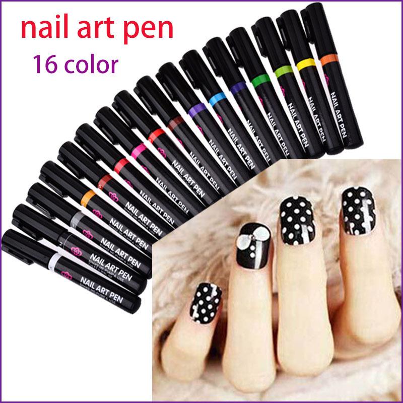 16 Colors Nail Art Pen For 3D Nail Art DIY Decoration Nail