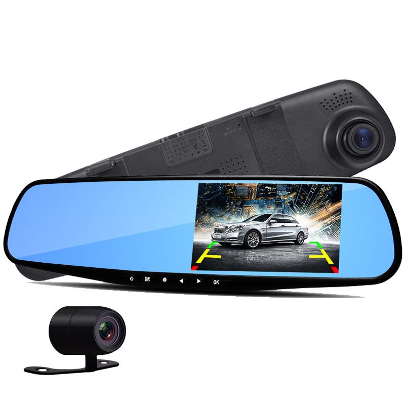 dual camera car rearview mirror novatek 96220 dash cam hd 1080p 4 3 39 39 screen rear view auto dvr. Black Bedroom Furniture Sets. Home Design Ideas